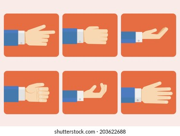 Set of hands in flat style