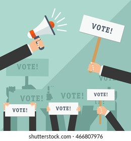 Set of hands holding different signs. Voting concept. Vector illustration.