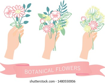set of hands holding flowers