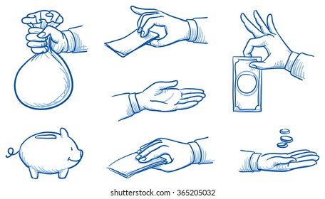 Set of hands holding money, take or give coins and notes. Hand drawn vector cartoon doodle illustration