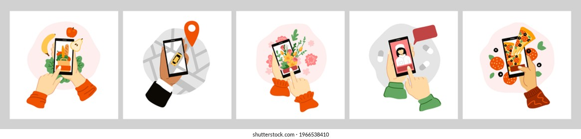 Set of hands holding smartphones, ordering food, grocery, flowers, gifts, pizza, taxi, medicines, medical care. Online delivery concept. Stylized hand-drawn vector illustrations.