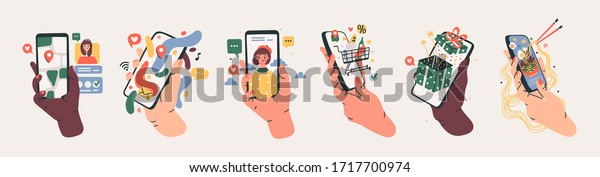 Set of Hands holding smartphones with various images. Communication, social networking concept. Stylized hand drawn Vector illustration for Mobile Application or web sites and banner design