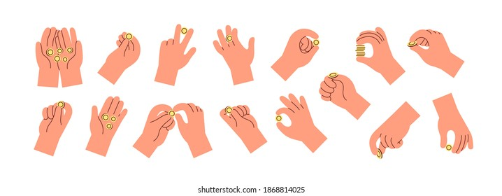 Set of hands holding, throwing, catching or giving golden coins. Collection of cartoon money, cent in fingers and palms. Colorful flat vector illustration with arms isolated on white background