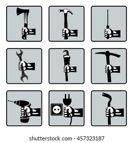 Set of hands holding tools. Vector hands with screwdriver, electric drill, wrench, hammer, pickaxe, socket, ax, mounting. Retro styled vector icons