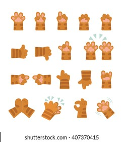 Set of hands icons, emoji isolated on transparent background, vector illustration,  infographics, animation, websites, reports, comics, apps.  Cartoon cat paws stickers with different hand gestures.