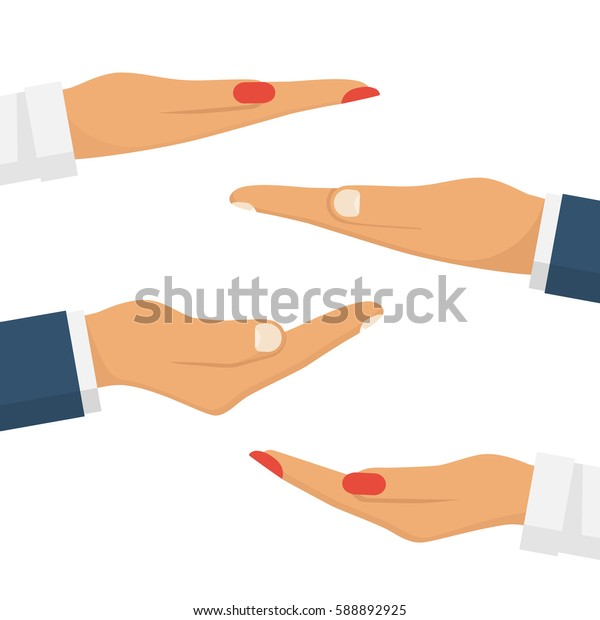 Set the hands of men and women palms up to showcase objects. People makes a gesture with hands. Vector illustration flat design. Isolated on white background. Empty space, template for demonstrations.