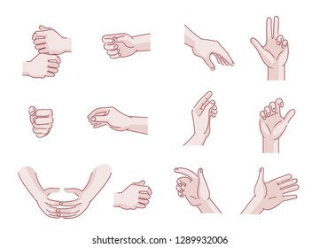 Set of hands Men's in different gestures emotions palm,hand back, side view. vector illustration isolated on a white background. Simple hand-drawn style.