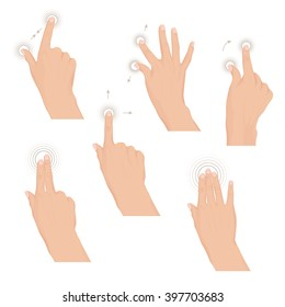 Set of hands with multitouch gestures for tablet or smartphone. Commonly used multitouch gestures for tablets and smartphone. Instruction. Set of rules Vector illustration. Eps 10