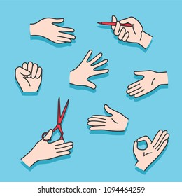 A set of hands showing different gestures.