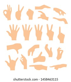 Set of hands showing different gestures isolated on a white background. Vector flat illustration of female and male hands . Isolated flat vector illustration