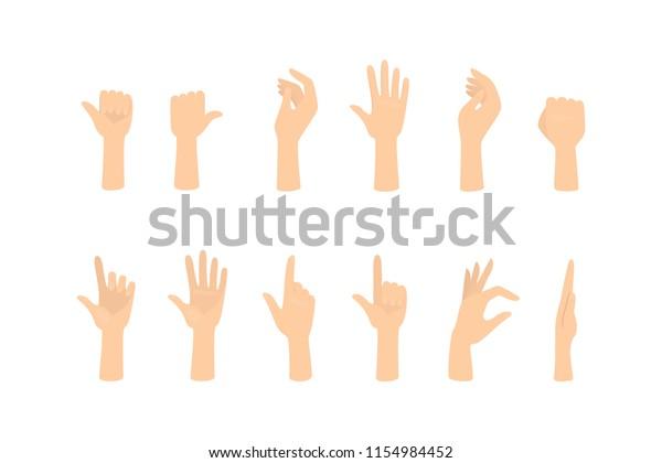 さまざまなジェスチャを示す手のセット手のひらが何かを指差し