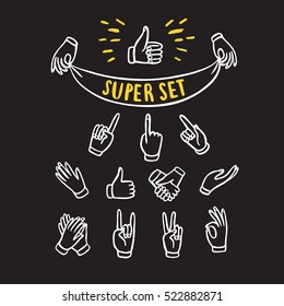 Set of  hands showing different signs such as pointing, like, dislike, victory, holding labels. Hand drawn brush vector cartoon illustration for your design.
