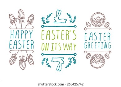 Set of hand-sketched easter typographic elements. Suitable for print and web