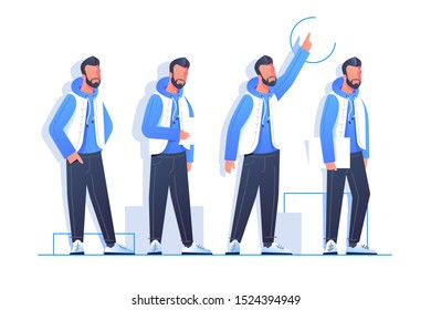 Set handsome bearded man character poses in modern style clothes. Isolated concept urban businessman employee pointing up and do paperwork. Vector illustration.