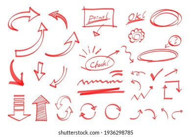 A set of handwritten arrow illustrations that look like they were drawn with markers. (red)