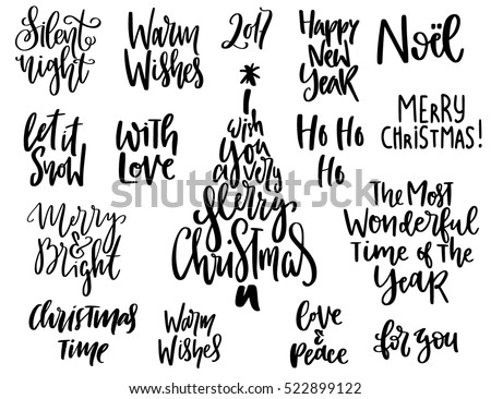 Set Handwritten Christmas Quotes Wishes Modern Stock Vector Royalty New Quotes For Christmas