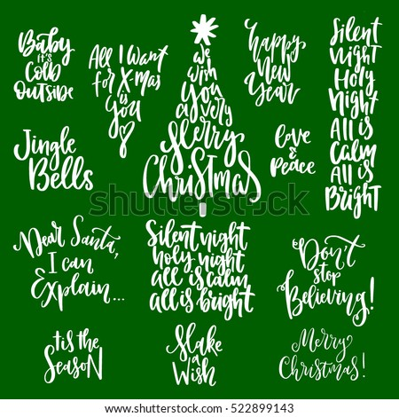 Holiday Season Quotes New Set Handwritten Christmas Quotes Wishes Modern Stock Vector Royalty