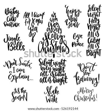 Set Handwritten Christmas Quotes Wishes Modern Stock Vector Royalty Delectable Quotes For Christmas