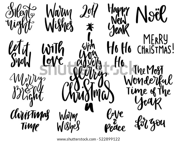 Set Handwritten Christmas Quotes Wishes Modern Stock Vector ...