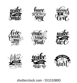 set of handwritten lettering positive quote about life, calligraphy vector illustration poster collection