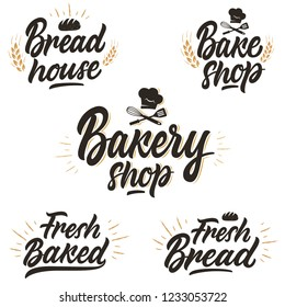 Set of hand-written logos, badges and labels for a bakery, bread shop and sweet shop.