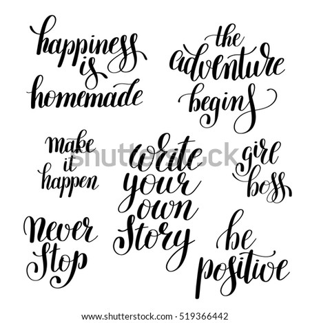 Set Handwritten Positive Inspirational Quotes Brush Stock Vector Delectable Positive Inspirational Quotes