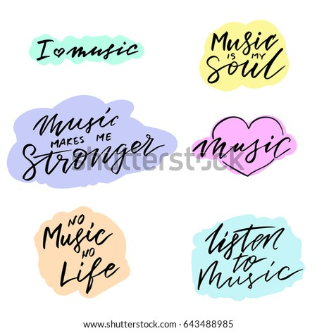 Set Handwritten Quotes About Music Love Stock Vector Royalty Free