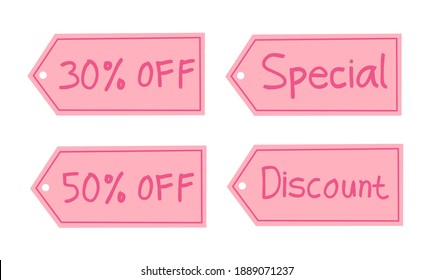 set of handwritten sale tags on a pink theme. suitable for web sticker sign promotion. vector illustration