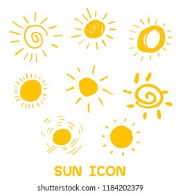 Set of handwritten sun symbols