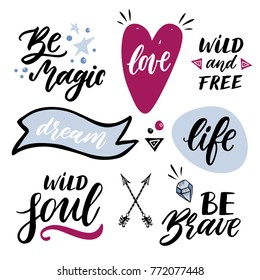 Set of handwritten words and phrases with hand drawn design elements.