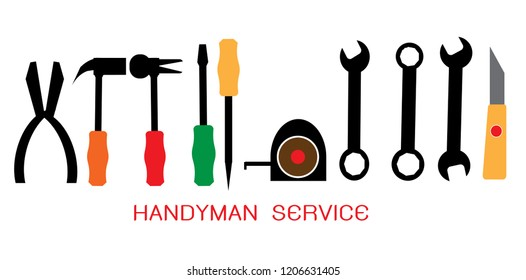Set of Handyman services, Craftsman tool icon set. Color Technician tool sign and symbol. Vector illustration EPS 10.