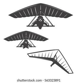 Set of Hang glider icons isolated on white background. Design elements for logo, label, emblem, sign, brand mark, poster. Vector illustration.