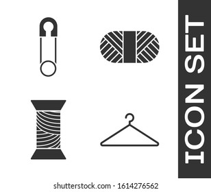 Set Hanger wardrobe, Classic closed steel safety pin, Sewing thread on spool and Sewing thread on spool icon. Vector