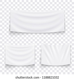 Set of hanging empty white textile banners. Blank flag template. Vector illustration