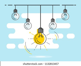 Set of hanging light bulbs with one glowing. Trendy flat vector light bulb icons with concept of idea on blue background.