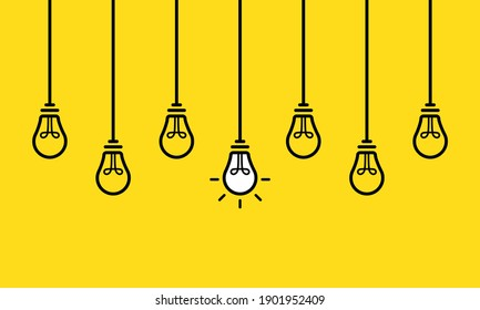 A set of hanging light bulbs with one glowing. Fashionable flat vector light bulb icons with the concept of ideas. Light bulb line icons set vector. Bulb, ideas, Creative icon symbol.