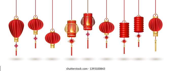 Set of hanging red Chinese lanterns isolated on white background. Traditional chinese lanterns are suitable for design of the Asian New Year, Mid autumn festival, other holidays