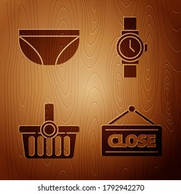 Set Hanging sign with Closed, Underwear, Shopping basket and Wrist watch on wooden background. Vector