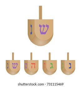Set of Hanukkah dreidels icons isolated on white background. 3d  with its letters of the Hebrew. Vector illustration.