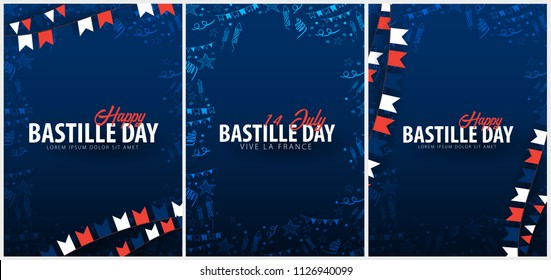 Set of Happy Bastille Day banners. 14th of July. France. Vector Illustration