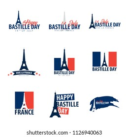 Set of Happy Bastille Day emblems or logos. 14th of July. France. Vector Illustration