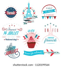 Set of Happy Bastille Day greetings card design. 14th july independence day vive la france Creative Vector illustration, card, banner or poster for French National holiday.