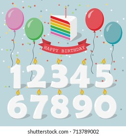 Set of Happy Birthday candles with holiday balloons, confetti, ribbon and cake