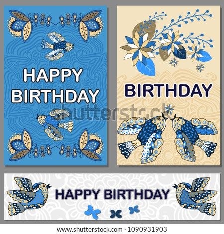 Set Happy Birthday Cards Template Gift Certificate Party Invitation Congratulation