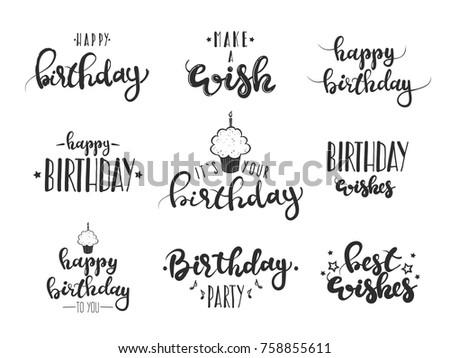 Set Happy Birthday Hand Lettering Greeting Stock Vektorgrafik