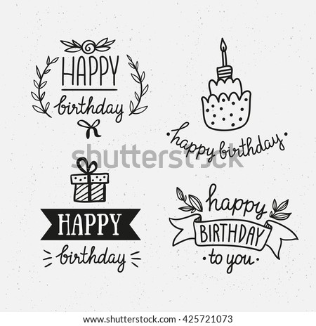 Set Of Happy Birthday Icons Monochrome Version Vector Hand Drawn Objects