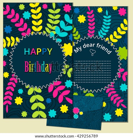 Set Happy Birthday Vector Cards And Envelope On Decorated Background Template