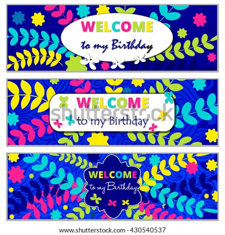 Set Happy Birthday Vector Cards On Decorated Background Template Pattern