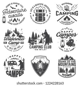 Set of Happy camper outdoor adventure symbol. Vector. Concept for shirt or logo, print, stamp or tee. Vintage design with lantern, camping tent, campfire, bear, man with guitar and forest silhouette.