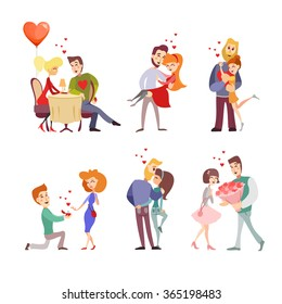 Set of  happy cartoon couples in love in various poses and actions:making proposition,having dinner,having date,celebrating valentine's day.Vector illustrations isolated on white background.